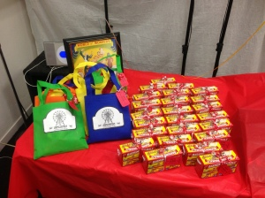"Party favors included Barnum's Animal Crackers with custom ""raffle tickets"" and goody bags for the kids."